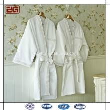 Tela de galleta de alta calidad con bordado de algodón blanco Albornoz personalizada