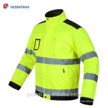 Heißer Verkauf Polycotton High Visibility Ingenieur Workwear Winddicht Gelb Sicherheit Reflektierende Jacke