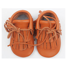 Orange Tassel Paragraph: Leather Baby Shoes