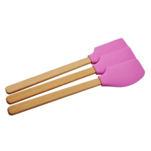 Rubber Silicone Scraper With Wooden Handle Kitchen Tools