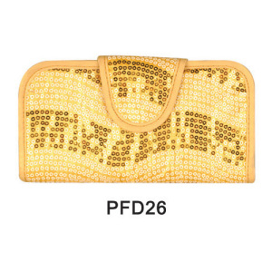 Golden bling PU handbag for makeup brush kit
