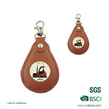 PU Leather Key Ring with Metal Logo (w-171)