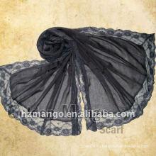 Элегантный стиль простой твердый чистый хлопок вуаль шарф