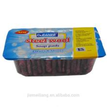 15PK limpieza de la cocina limpiador de lana de acero rejilla de lana de acero inoxidable con jabón