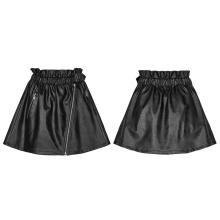 PUNK RAVE OPQ-449 Steampunk Black Loose Good Elastic Waist Lovely Short Mini Leather women Half Skirt