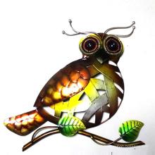 Metal brillante búho pared artesanía