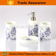 Blue Flower Decal Porcelaine Ensemble de salle de bain en gros