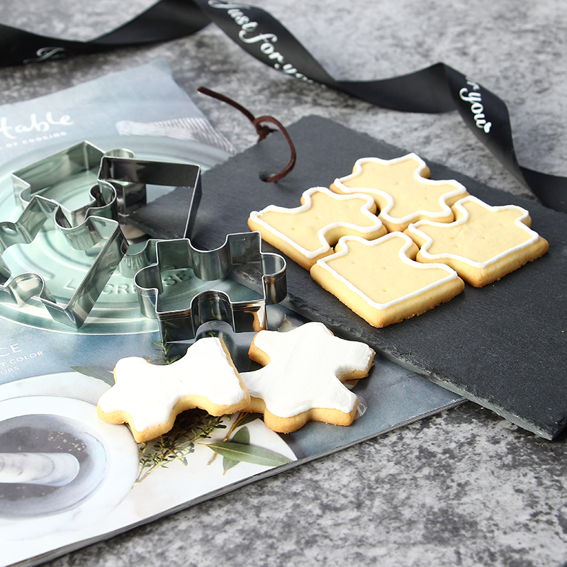 4 pieces stainless steel puzzle biscuit cookie cutter set