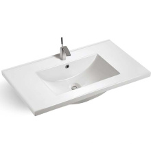 Fancy design custom logo home goods sanitary ware white porcelain thin edge basin with cabinet