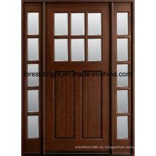 Manchado exterior Mohagany Prehung Craftsman Puertas de madera maciza con laterales Lites