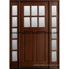 Portas de madeira contínuas manchadas exterior do artesão de Mohagany Prehung com lado Lite