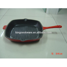 rectangular cast iron grill fry pan with enamel/vegetable oil coating