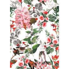 Lebende Blume / Vogel gesponnenes gedrucktes Polyester-Kleidergewebe