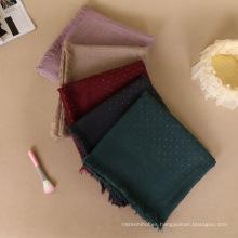 Premium shimmer gold line moda mujeres musulmanas impreso piedra de algodón bufanda borla invierno hijab