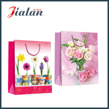 Coated Paper with Beautiful Flowers Hand Shopping Gift Paper Bag