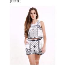 Summer New Manteau sans manches Manteau Femmes Retro Print Shorts Suit Mode Two Sets Suit