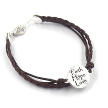 Fashion Customized Metal Charms Woven Leather Bracelets