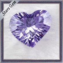 Light Amethyst Heart Shape Millennium Cut Cubic Zirconia