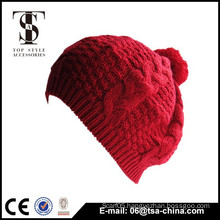 Red color classcal stlye Lady beauty types winter hat