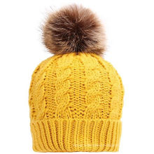 Hand Knit Hat Beanie Cap Headwear with Fur POM POM