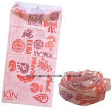China OEM Produce Customized Logo Pink Girl′s Printed Multifunctional Sports Scarf Headwear Buff