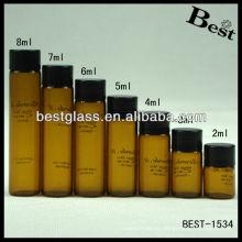 Botella ámbar del tornillo redondo 2ml / 3ml / 4ml / 5ml / 6ml / 7ml / 8ml, botella ámbar del nuevo tornillo del estilo redondo, botella ambarina del tornillo redondo con la impresión