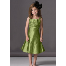 A-line Scalloped Neckline Knee-length Taffeta Ruffled Flower Girl Dress
