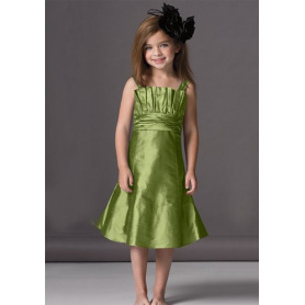 A-line Bergigi Leher Flower Girl Dress