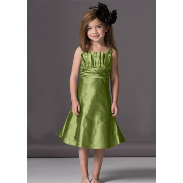 A 라인 Scalloped Neckline Flower Girl Dress