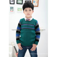 Karen Round Neck Ribbed Striped Pullover Boys Sweater