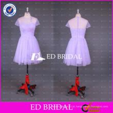 2017 ED Bridal sheer CrewNeck manga curta joelho comprimento curto vestido de dama de honra branco Tulle importado da China