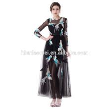 Высокое Качество Плюс Размер Вышитые Вскользь Платье Черного Цвета Средний-Икры Вечернее Платье Для Полных Женщин