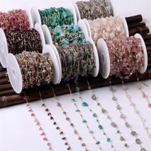 18K Pure Gold Crystal Agate Amethyst Gravel Chain Turquoise Tourmaline Link Chain for DIY Earring Necklace Bracelet Waist Chain