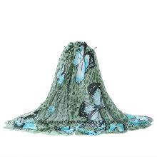 Echarpe longue imprimée imprimée papillon léger en polyester