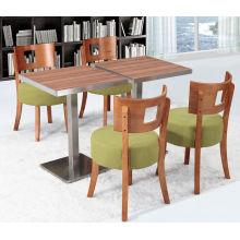 Silla grande italiana del café del amortiguador del color del Mocha del sofá verde y tabla de madera del grano (FOH-BCA08)
