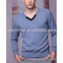 100% suéter de color azul cachemir para hombre