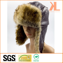 Ягненок и искусственный мех Ушанка Зимняя шапка с ушным лоскутом