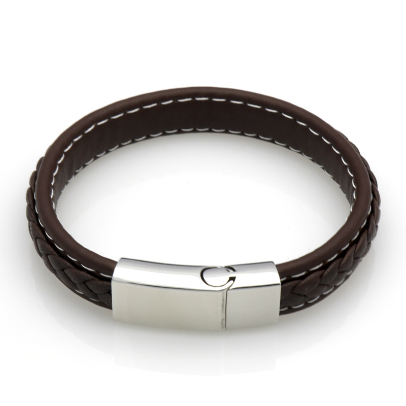 Woven Leather Open Cuff Wrap Magnetic Clasp Bracelet