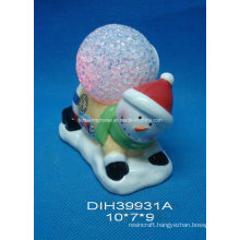 Color-Changing LED Lighted Ceramic Snowman with Stamp