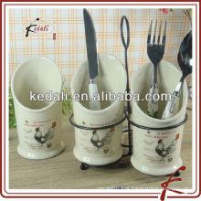 Porta-ferramentas de cozinha em cerâmica branca com suporte de metal