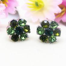 Bijoux de boucles d'oreilles de fleur de cristaux d'émeraude de mode