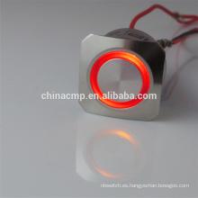 CMP Supply CE TUV Metal antivandalismo dpdt 2no 2nc pulsador 5V 12v 24v Interruptor de encendido iluminado rojo para automóvil / café