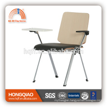 CV-B191BS-3 chrome metal base PU seat school chair with writing board nylon armrest