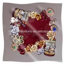 Cachecol de seda da máquina de design da jóia original lenço de seda hemmed