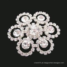 Alloy Custom Prata Flor Rhinestones Broche Buquê Para Casamento
