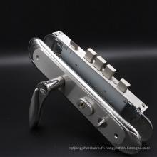 Serrure de sécurité en acier inoxydable avec cylindre profilé Euro et poignée clé à mortaise