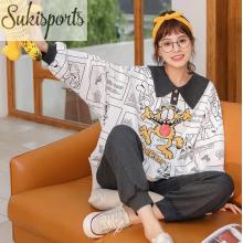 Frauen niedlichen langärmeligen Baumwolle Nachtwäsche Pyjamas Set