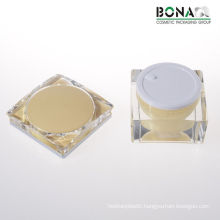 2017 Hot Selling Yellow Coating Square Acrylic Cosmetic Jar for Cream