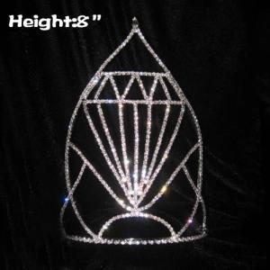 Diamantes de imitación de 8 pulgadas de altura Coronas de concurso de diamantes