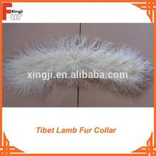 Colar de pele de cordeiro branco tibetano branqueada